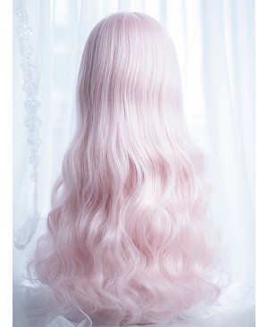 Cute Air-bangs Pink Long Curly Hair Lolita Wigs