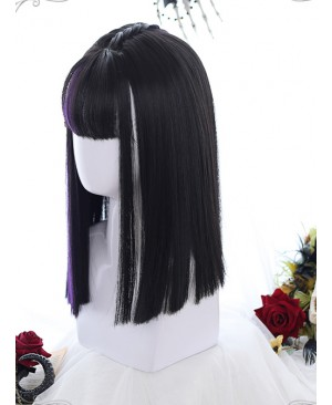 Air bangs Medium-length Hair Purple Highlights Gothic Lolita Black Wigs