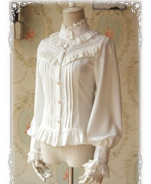 Strong Fragrance Series Thickened White Chiffon Long Sleeve Classic Lolita Shirt