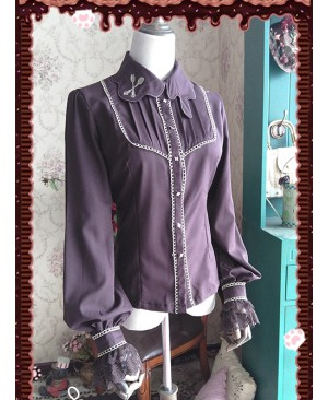 Chocolate Sauce Series Embroidery Dark Brown Long Sleeve Classic Lolita Shirt