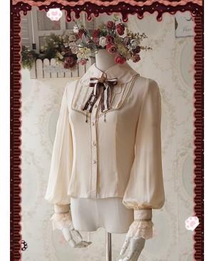 Chocolate Sauce Series Embroidery Khaki Long Sleeve Classic Lolita Shirt