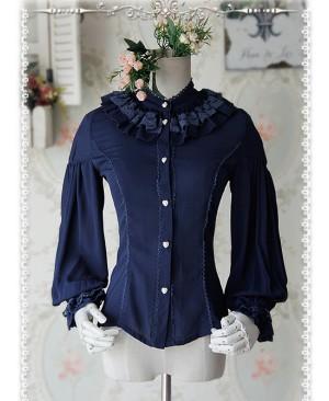 Swan Lake's Love Series Deep Blue Chiffon Long Puff Sleeve Classic Lolita Shirt