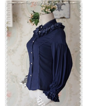 Swan Lake's Love Series Deep Blue Chiffon Long Puff Sleeve Classic Lolita Shirt