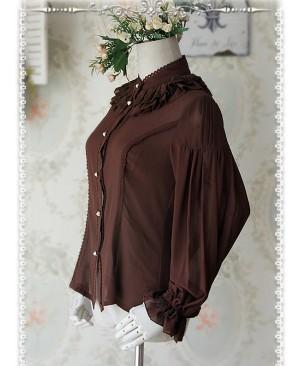 Swan Lake's Love Series Coffee Color Chiffon Long Puff Sleeve Classic Lolita Shirt