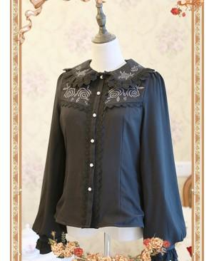 Rose Garden Series Black Thickened Chiffon Embroidery Classic Lolita Shirt