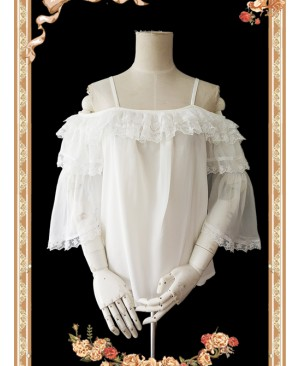Antique Dress Shop Series White Trumpet Sleeve Off Shoulder Classic Lolita Shirt