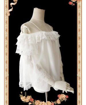 Antique Dress Shop Series White Trumpet Sleeve Off Shoulder Classic Lolita Shirt