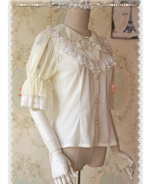 Milky White Glass Striped Doll Collar Lolita Bubble Sleeve Shirt