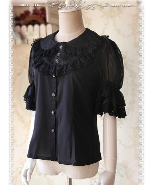 Black Glass Striped Doll Collar Lolita Bubble Sleeve Shirt