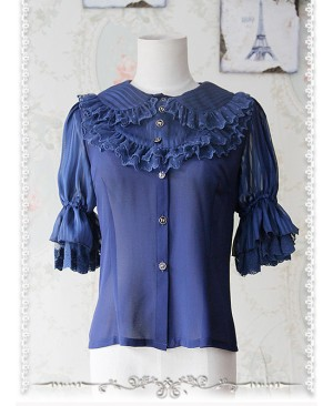 Deep Blue Glass Striped Doll Collar Lolita Bubble Sleeve Shirt
