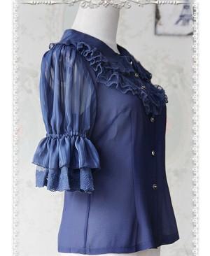 Deep Blue Glass Striped Doll Collar Lolita Bubble Sleeve Shirt