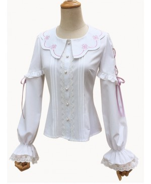 Spring Cute Petal Collar White Classic Lolita Long Sleeve Shirt