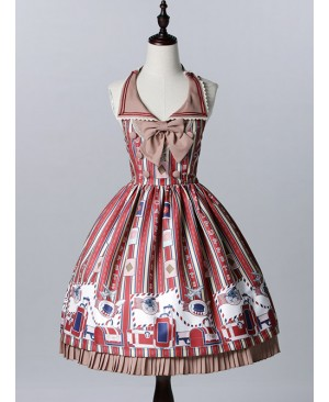 Wine Red Lapel Print Lolita Sleeveless Dress