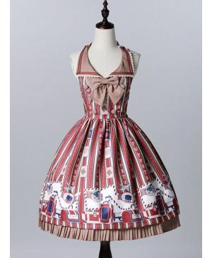 Wine Red Lapel Print Lolita Sleeveless Dress