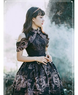 Black Kowloon Missing Shoulder Print Dress
