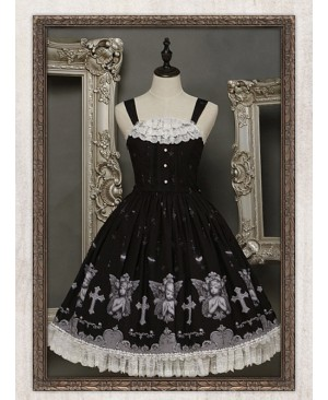 Black Angel Fold Vest Skirt Lace At The Bottom