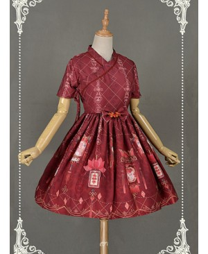Dark Red Short Sleeves  Pleated Skirt Qi Lolita Dress - Chinese Palace Lanterns