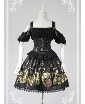 Black Open The Shoulder Tight Waist Lolita Skirt
