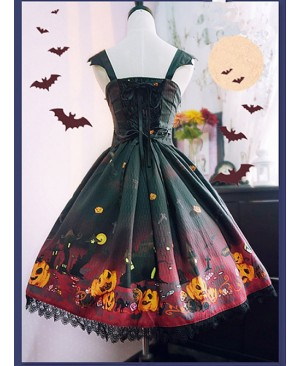 Black And Red Halloween Themed Pumpkin Printed Self Cultivation Skirt