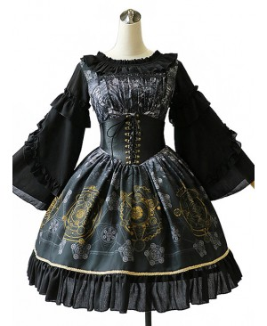 Black Grey Meteorite Magic Printed  Lolita Dress