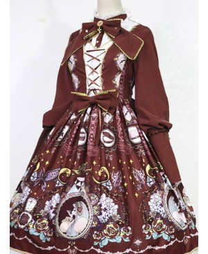 The Opera House at Midnight ~Lolita Stand Collar Long Sleeves OP Dress~Wine