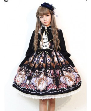 The Opera House at Midnight ~Lolita Stand Collar Long Sleeves OP Dress~Black
