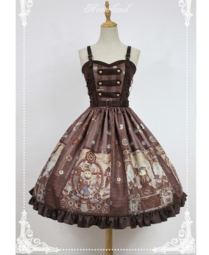 Adjustable Straps Natural Waist Steampunk Lolita JSK - Steampunk Cat by Souffle Song
