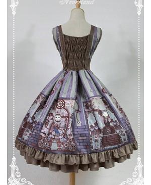 High Waist V-neck Steampunk Lolita JSK - Steampunk Cat by Souffle Song