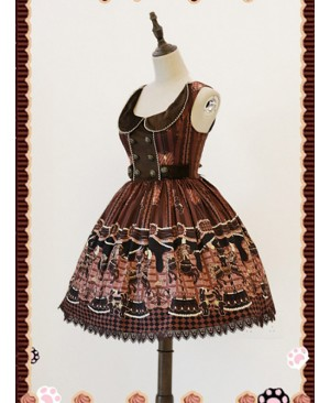 Brown Round Collar Chocolate Carousel Infanta Dress