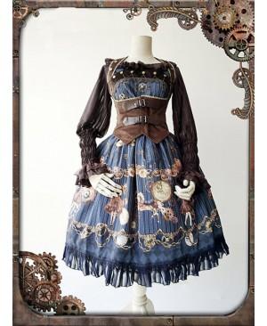 Dark Blue Mechanical Doll Bow Belt Dress