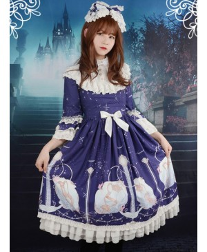 Neverland Lolita,Aquarius,Detachable Hime Sleeves High Collar OP Dress