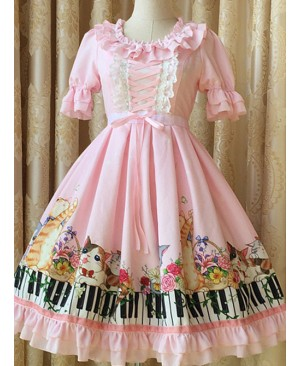 Ruffled Neckline and Skirt Hemline Sweet Kitties and Piano Printed OP