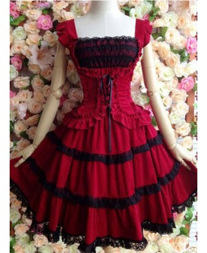 Dark Red Palace Wind Lace Waist Suspender Dress