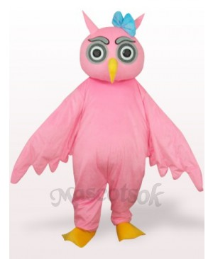 Pink Owl Plush Adult Mascot Costume