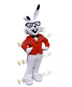 White Easter Bunny Bugs Rabbit Mascot Costumes with Red Coat