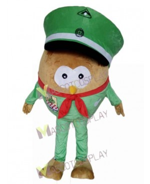Adult Green Hat Big Body Owl Mascot Costume