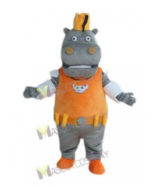 Cute Gray Hippo Hippopotamus King in Orange Vest Mascot Costume