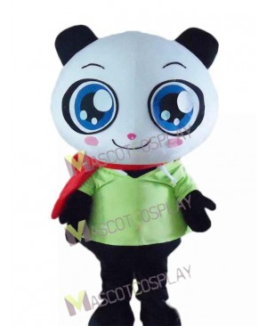 Cartoon Panda Bear in Green Shirt Mascot Costume