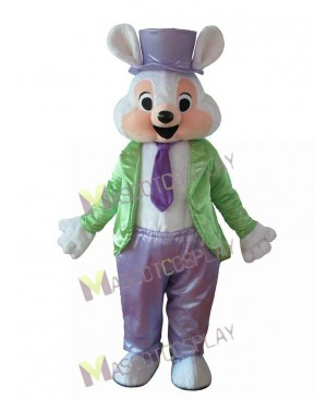Cartoon Easter Bunny in Hat and Tie Rabbit Mascot Costume
