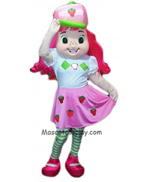Hot Sale Adorable Realistic New Popular Professional Strawberry Shortcake Mascot Costume Girl with Pink Hair Character Cartoon Costume