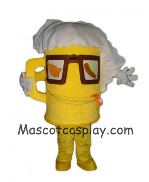 Hot Sale Adorable Realistic New Popular Professional Yellow Cartoon Cup Glass Beer Bottle Mascot Costume Doll with Glasses Mascot Costumes