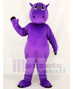 Cute Purple Hippo Mascot Costume Animal
