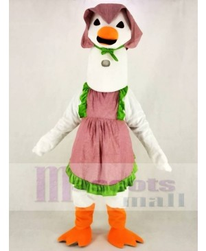 White Mother Goose with Dress Mascot Costume Animal