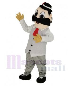 Barber in White Shirt Mascot Costume