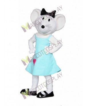 High Quality Adult Gray Baby Mouse in Blue Dress Mascot Costume