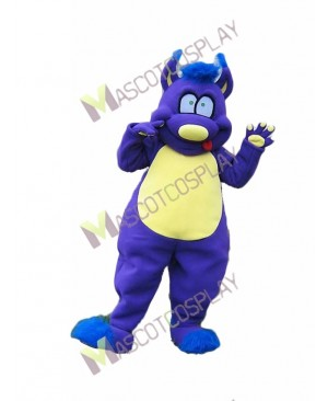 High Quality Adult Purple Monster with Yellow Belly Mascot Costume