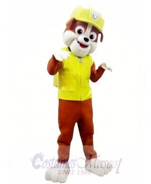 Paw Patrol Rubble Adult Mascot Costume Yellow Dog Halloween Costume