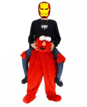 Piggyback Elmo Carry Me Ride Sesame Street Red Monster Mascot Costume