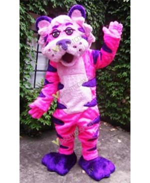 High Quality Adult Pink and Purple Tiger Mascot Costume