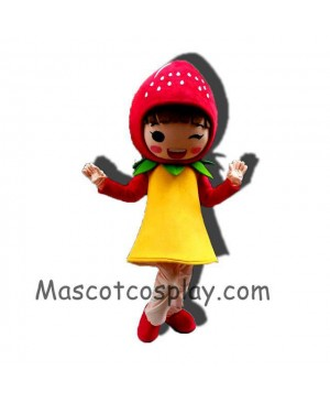 High Quality Realistic New Red Fruit Strawberry Girl Mascot Costume with Yellow Dress